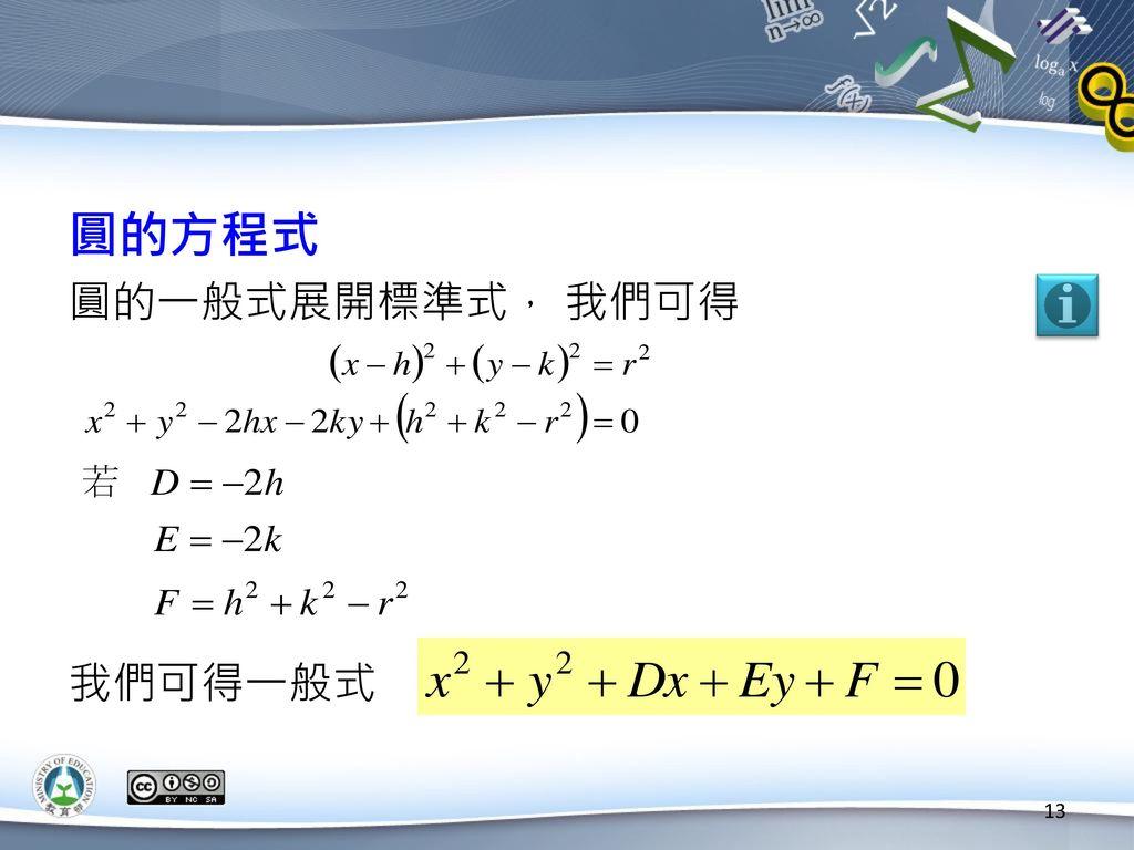 圓的方程式 圓的一般式展開標準式, 我們可得 我們可得一般式
