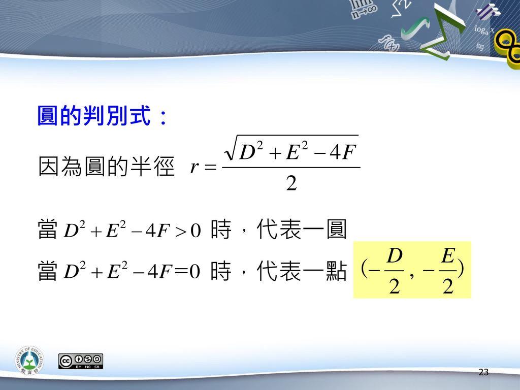圓的判別式: 因為圓的半徑 當 時,代表一圓 當 時,代表一點