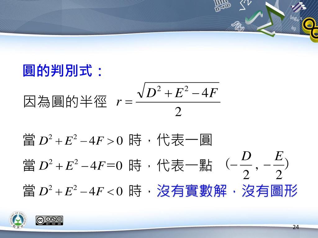 圓的判別式: 因為圓的半徑. 當 時,代表一圓.