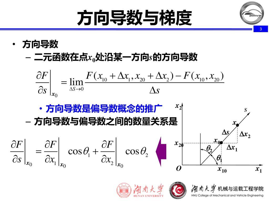 方向导数与梯度 方向导数 二元函数在点x0处沿某一方向s的方向导数 方向导数是偏导数概念的推广 方向导数与偏导数之间的数量关系是 O x2