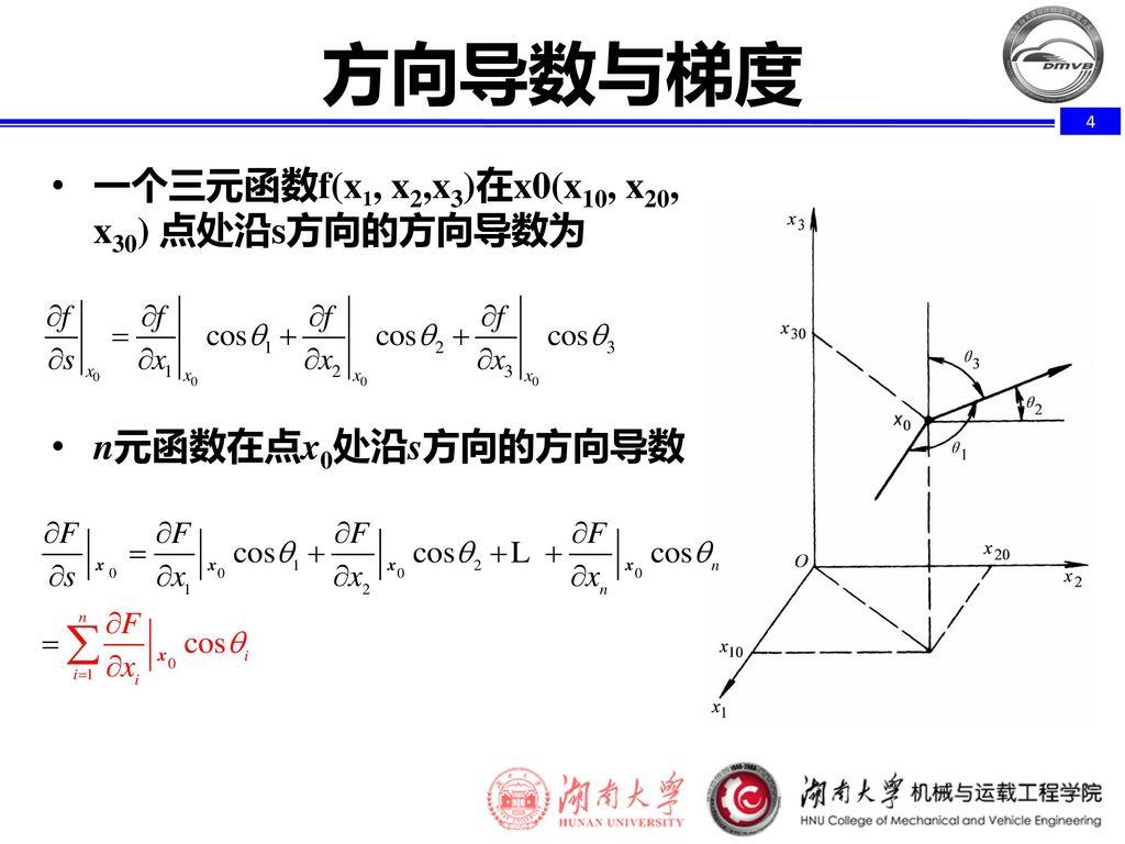 方向导数与梯度 一个三元函数f(x1, x2,x3)在x0(x10, x20, x30) 点处沿s方向的方向导数为