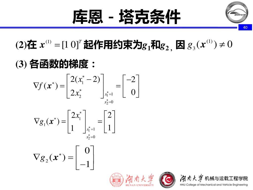 库恩-塔克条件 (2)在 起作用约束为g1和g2 , 因 (3) 各函数的梯度: