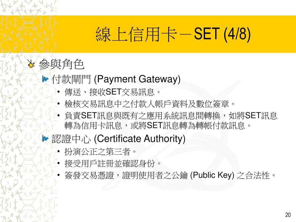 線上信用卡-SET (4/8) 參與角色 付款閘門 (Payment Gateway)