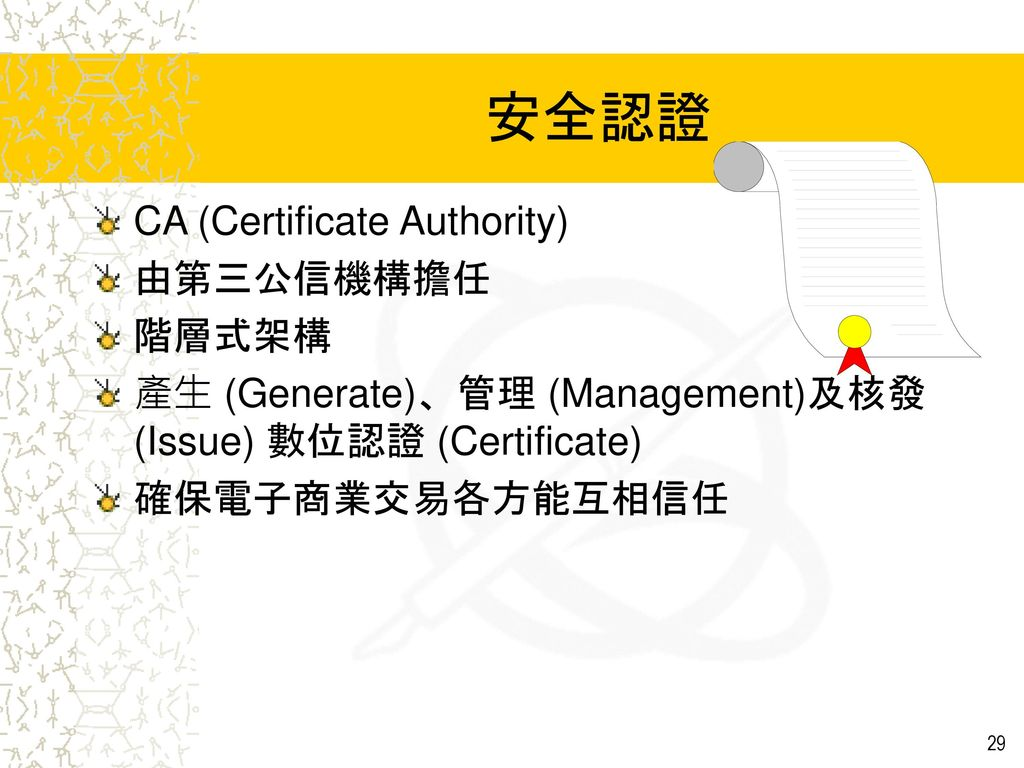 安全認證 CA (Certificate Authority) 由第三公信機構擔任 階層式架構