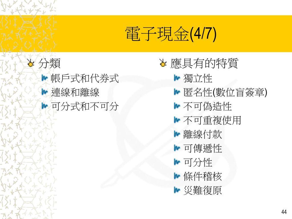 電子現金(4/7) 分類 應具有的特質 帳戶式和代券式 連線和離線 可分式和不可分 獨立性 匿名性(數位盲簽章) 不可偽造性 不可重複使用
