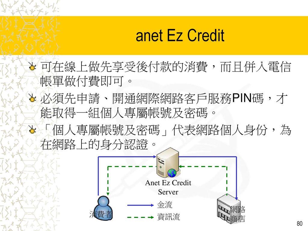 anet Ez Credit 可在線上做先享受後付款的消費,而且併入電信帳單做付費即可。