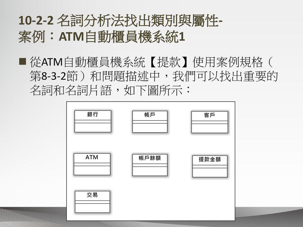 10-2-2 名詞分析法找出類別與屬性- 案例:ATM自動櫃員機系統1