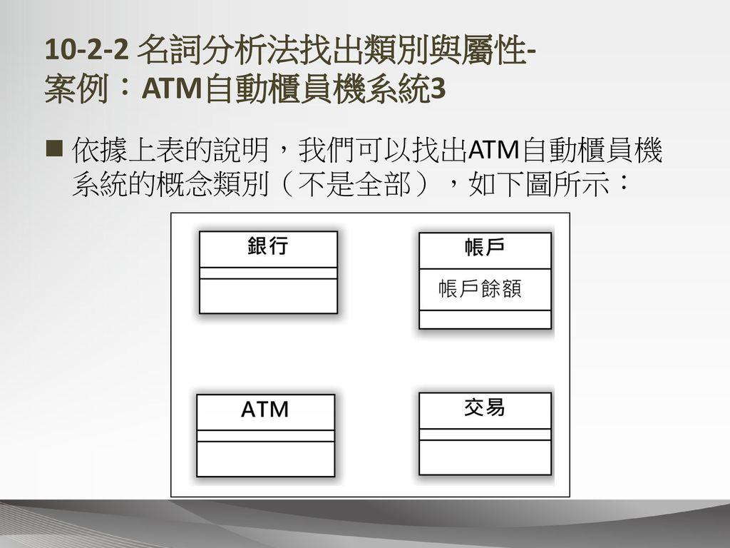 10-2-2 名詞分析法找出類別與屬性- 案例:ATM自動櫃員機系統3