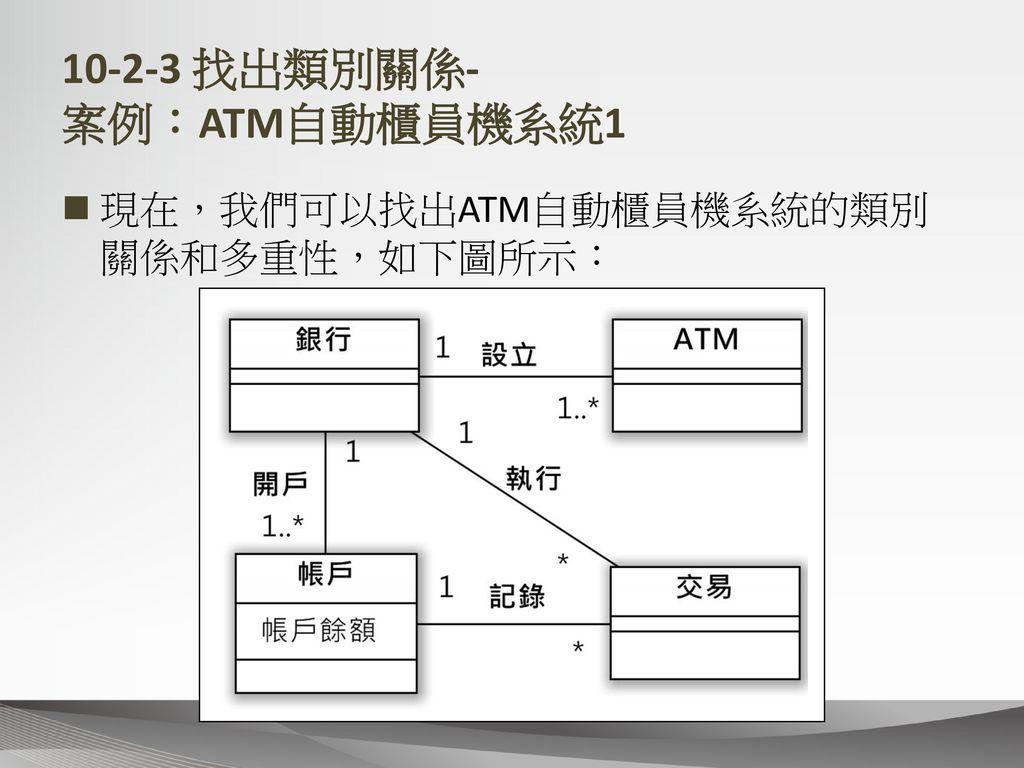 10-2-3 找出類別關係- 案例:ATM自動櫃員機系統1
