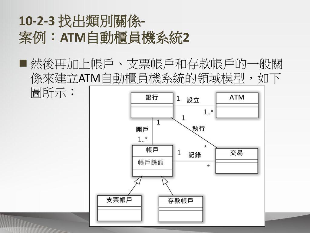 10-2-3 找出類別關係- 案例:ATM自動櫃員機系統2