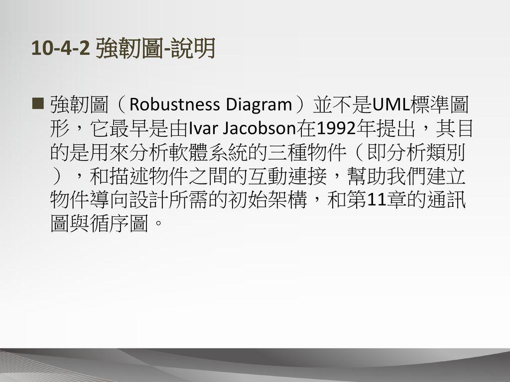 10-4-2 強韌圖-說明 強韌圖(Robustness Diagram)並不是UML標準圖形,它最早是由Ivar Jacobson在1992年提出,其目的是用來分析軟體系統的三種物件(即分析類別),和描述物件之間的互動連接,幫助我們建立物件導向設計所需的初始架構,和第11章的通訊圖與循序圖。