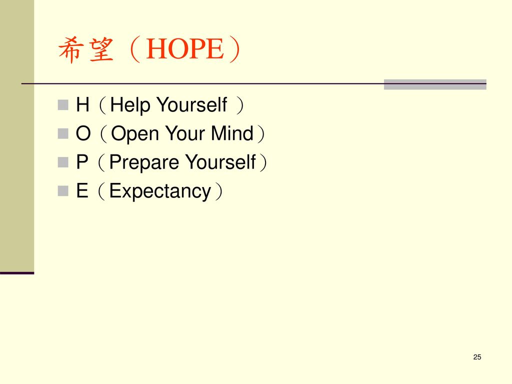 希望(HOPE) H(Help Yourself ) O(Open Your Mind) P(Prepare Yourself)
