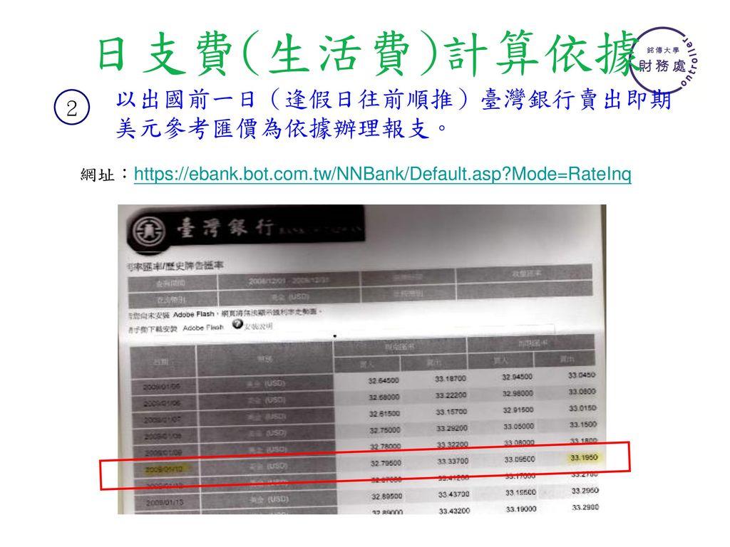 日支費(生活費)計算依據 以出國前一日(逢假日往前順推)臺灣銀行賣出即期美元參考匯價為依據辦理報支。 2
