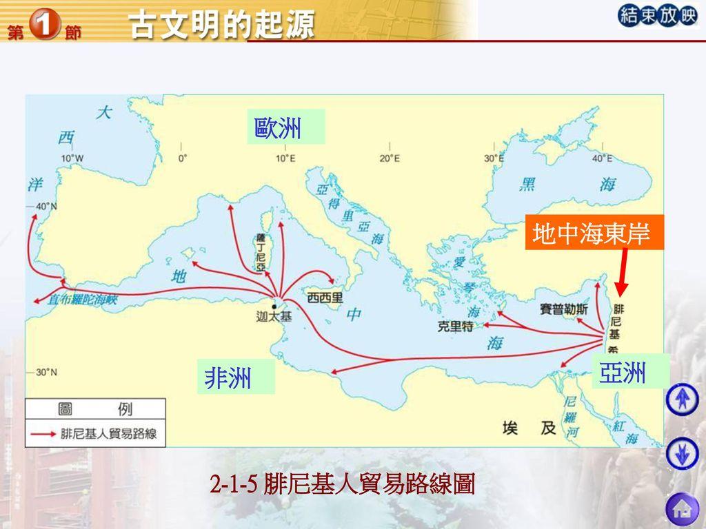 歐洲 地中海東岸 亞洲 非洲 2-1-5 腓尼基人貿易路線圖