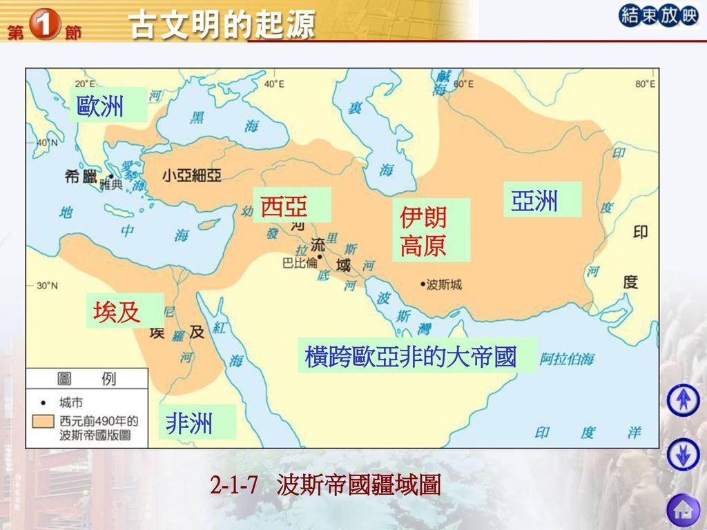 歐洲 亞洲 西亞 伊朗高原 埃及 橫跨歐亞非的大帝國 非洲 2-1-7 波斯帝國疆域圖