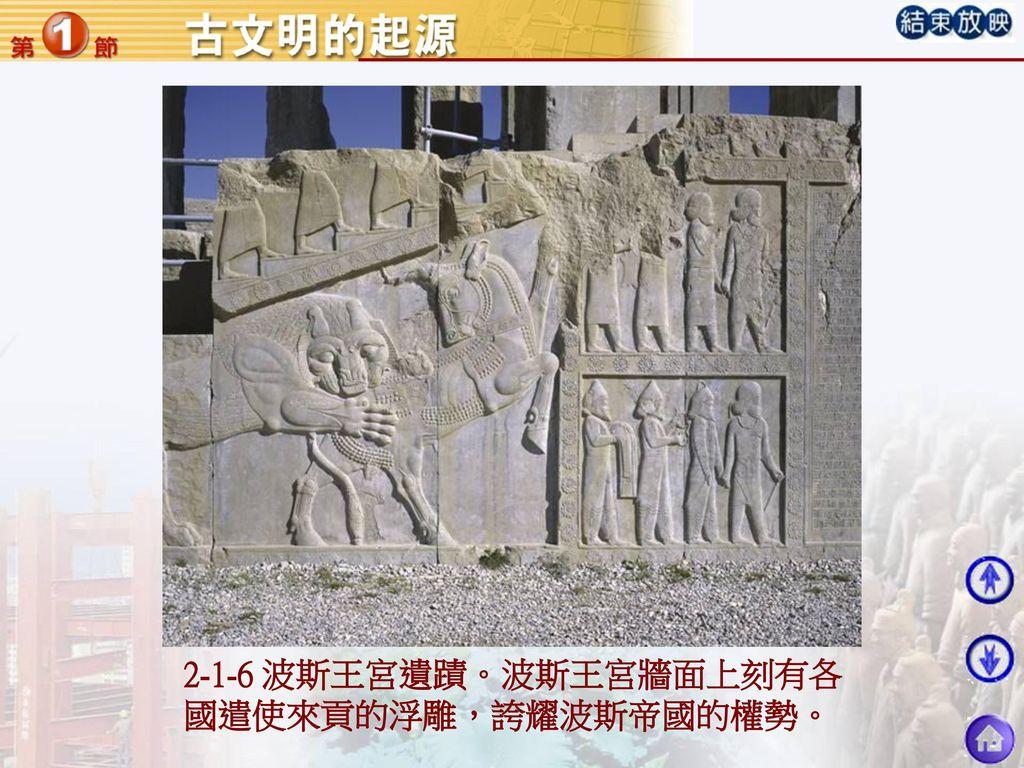 2-1-6 波斯王宮遺蹟。波斯王宮牆面上刻有各國遣使來貢的浮雕,誇耀波斯帝國的權勢。