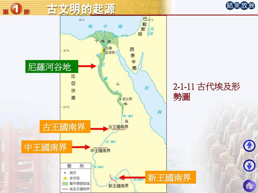 尼羅河谷地 2-1-11 古代埃及形勢圖 古王國南界 中王國南界 新王國南界