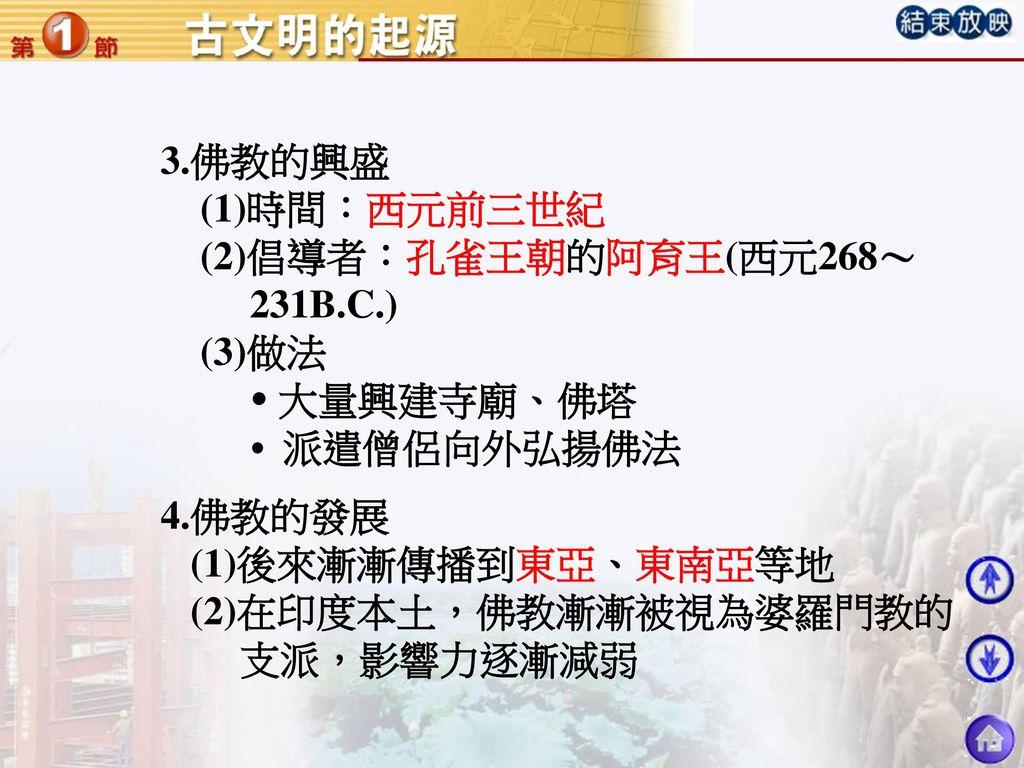 3.佛教的興盛 (1)時間:西元前三世紀. (2)倡導者:孔雀王朝的阿育王(西元268~ 231B.C.) (3)做法.  大量興建寺廟、佛塔.  派遣僧侶向外弘揚佛法. 4.佛教的發展.