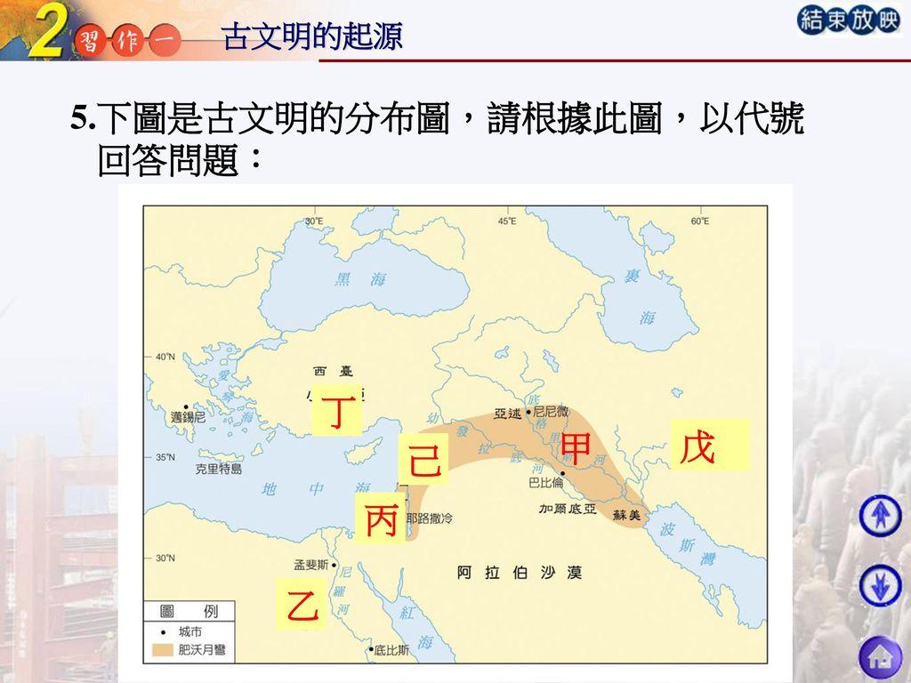 5.下圖是古文明的分布圖,請根據此圖,以代號 回答問題: