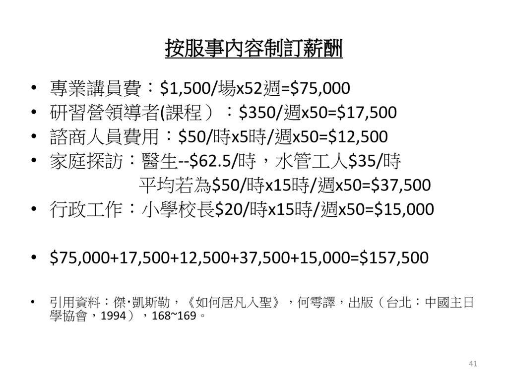按服事內容制訂薪酬 專業講員費:$1,500/場x52週=$75,000 研習營領導者(課程):$350/週x50=$17,500