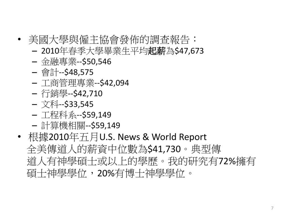 根據2010年五月U.S. News & World Report 全美傳道人的薪資中位數為$41,730。典型傳
