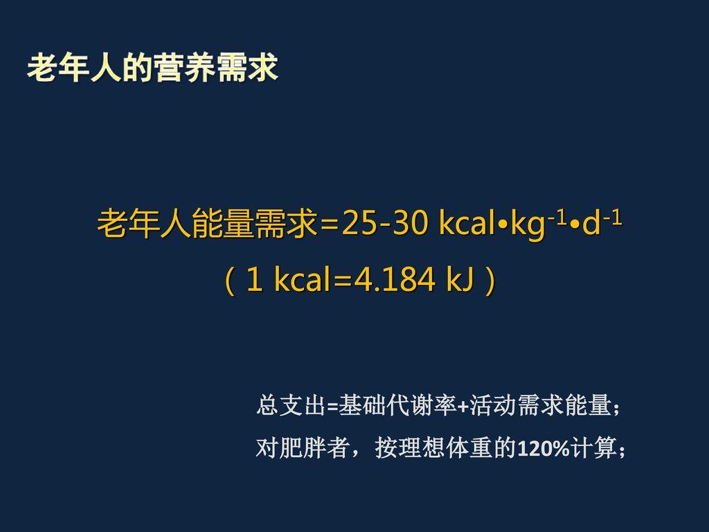 老年人能量需求=25-30 kcal•kg-1•d-1