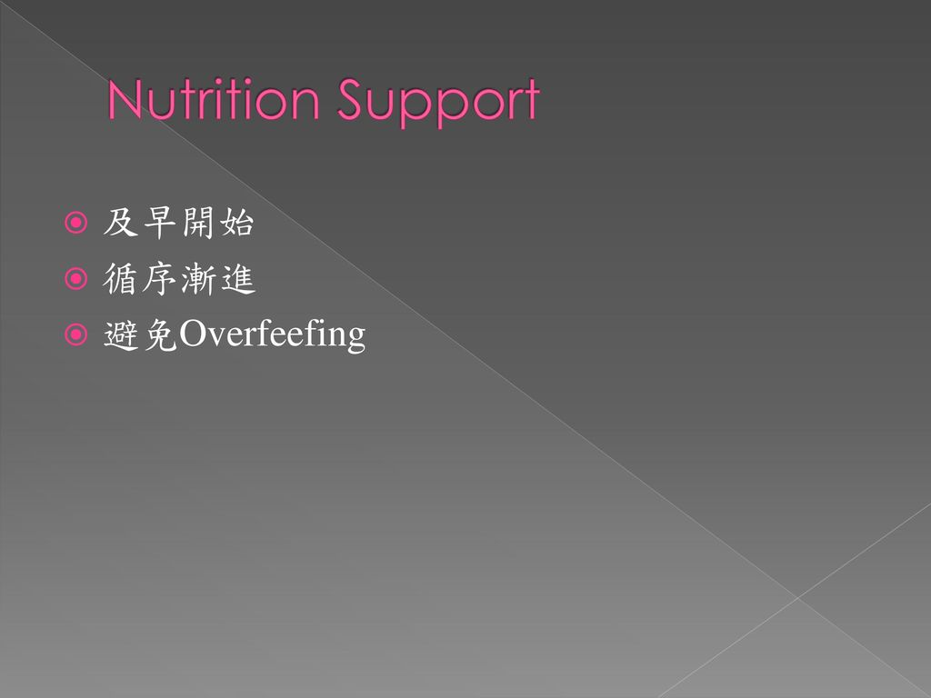 Nutrition Support 及早開始 循序漸進 避免Overfeefing