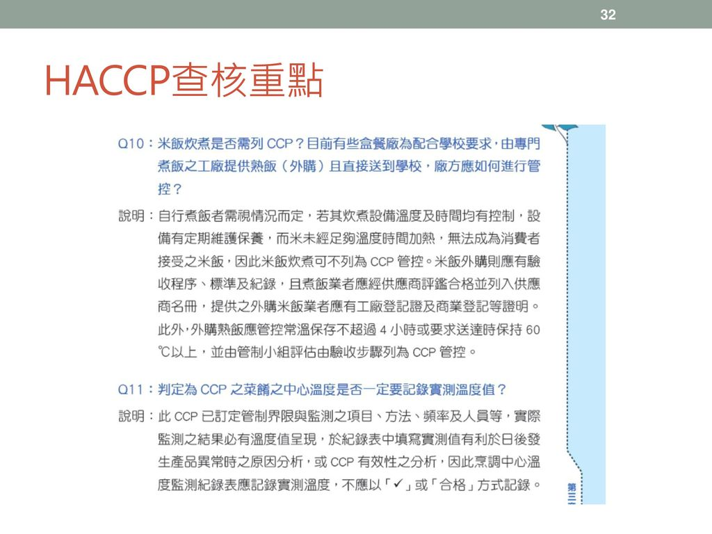 HACCP查核重點