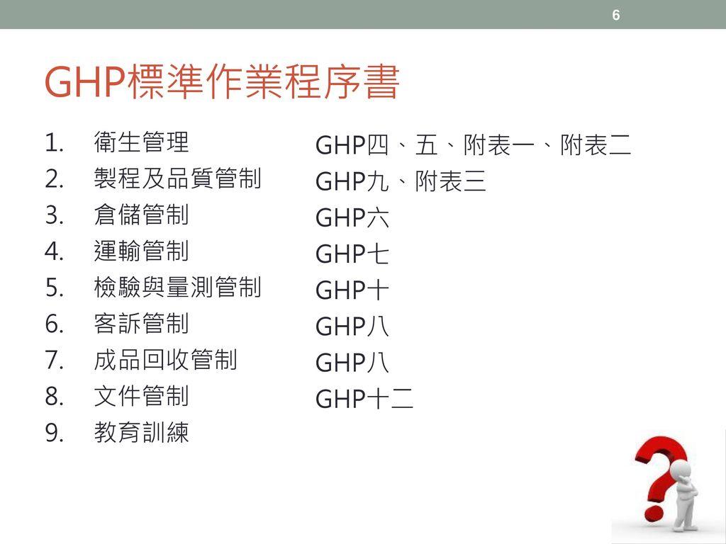 GHP標準作業程序書 GHP四、五、附表一、附表二 衛生管理 GHP九、附表三 製程及品質管制 GHP六 倉儲管制 GHP七 運輸管制