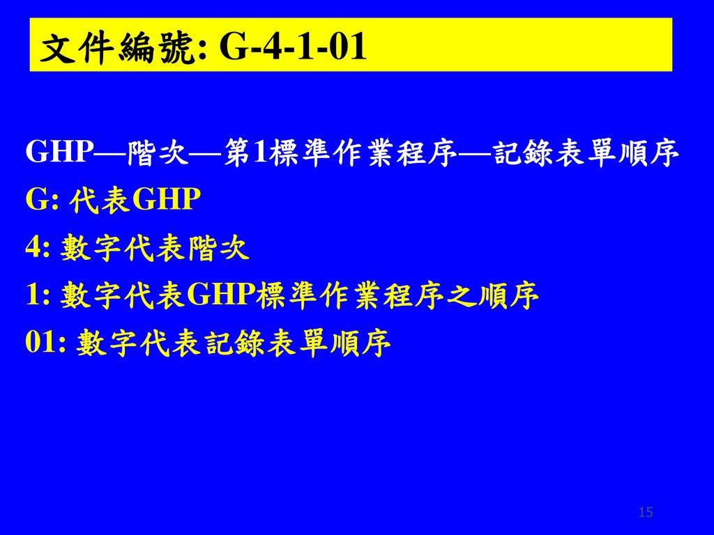 文件編號: G-4-1-01 GHP—階次—第1標準作業程序—記錄表單順序 G: 代表GHP 4: 數字代表階次