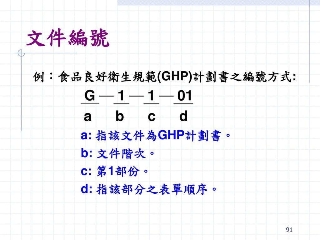 文件編號 a b c d 例:食品良好衛生規範(GHP)計劃書之編號方式: G ─ 1 ─ 1 ─ 01 a: 指該文件為GHP計劃書。