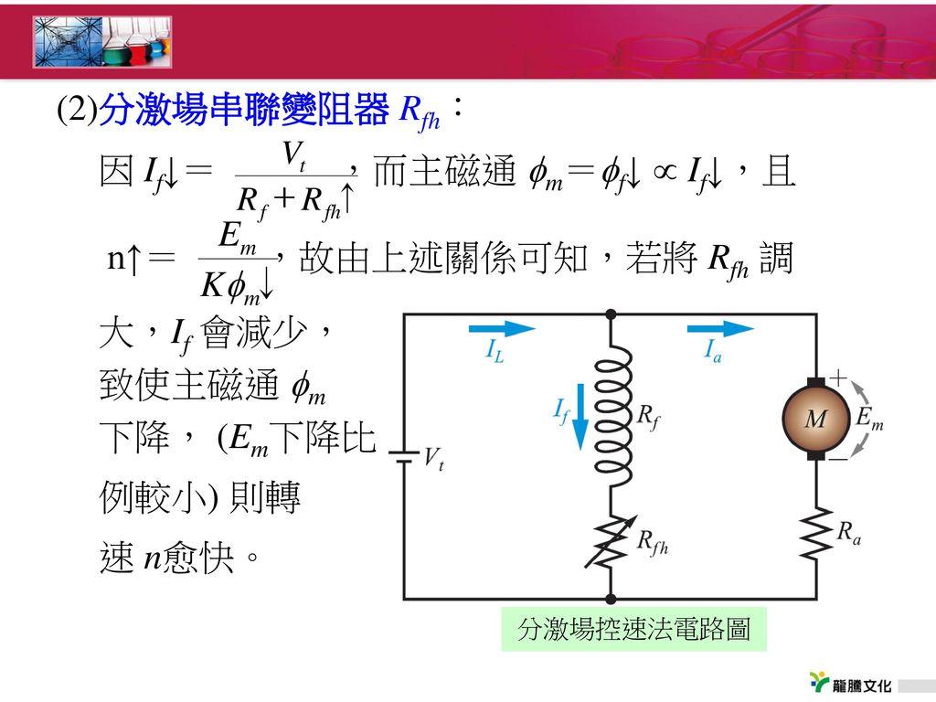 因 If↓= ,而主磁通 m=f↓  If↓,且 n↑= ,故由上述關係可知,若將 Rfh 調
