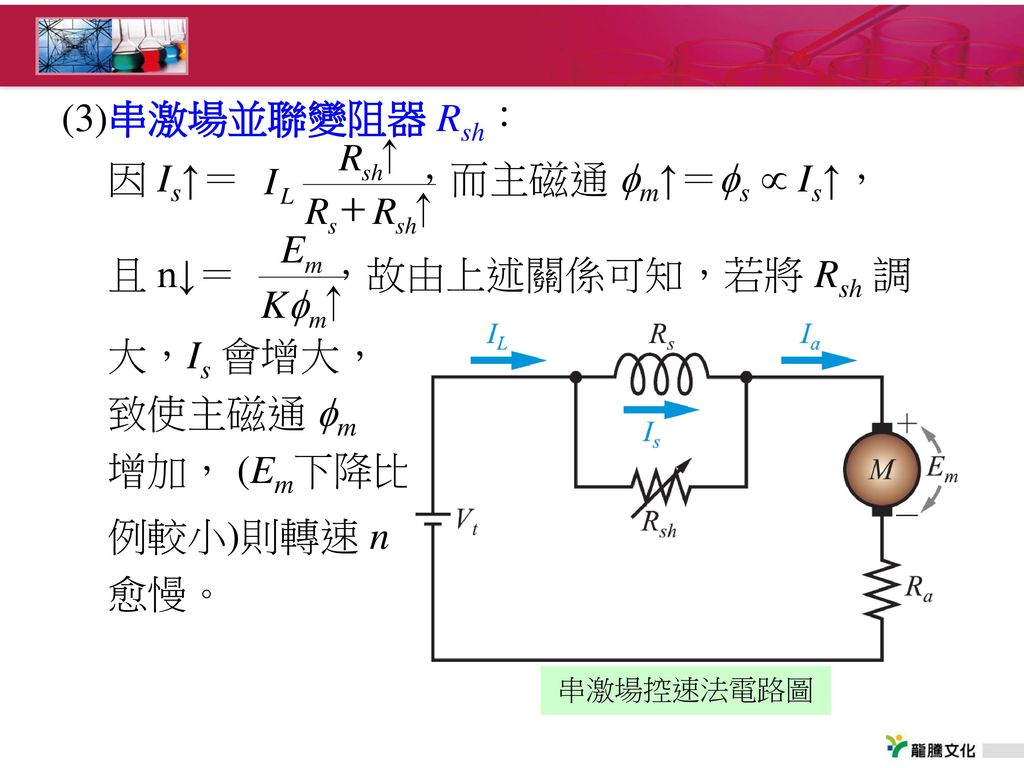 因 Is↑= ,而主磁通 m↑=s  Is↑, 且 n↓= ,故由上述關係可知,若將 Rsh 調