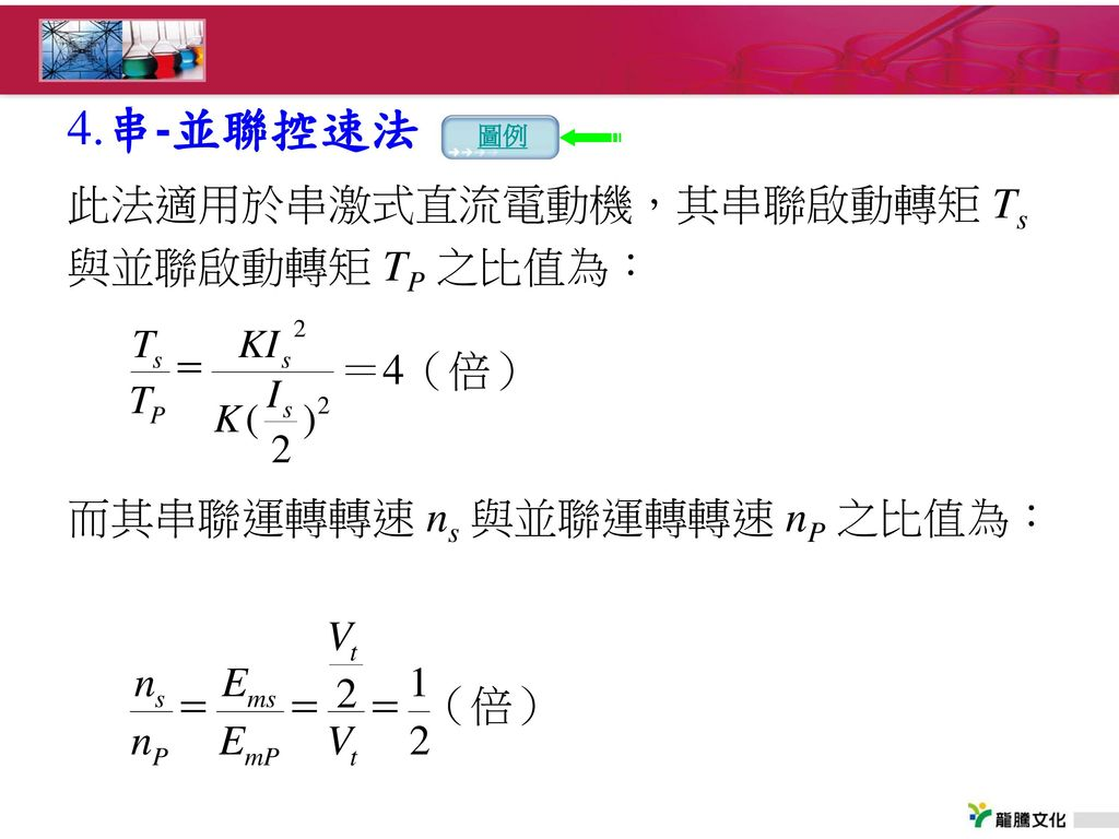 4.串-並聯控速法 圖例. 此法適用於串激式直流電動機,其串聯啟動轉矩 Ts 與並聯啟動轉矩 TP 之比值為: 而其串聯運轉轉速 ns 與並聯運轉轉速 nP 之比值為: =4(倍)