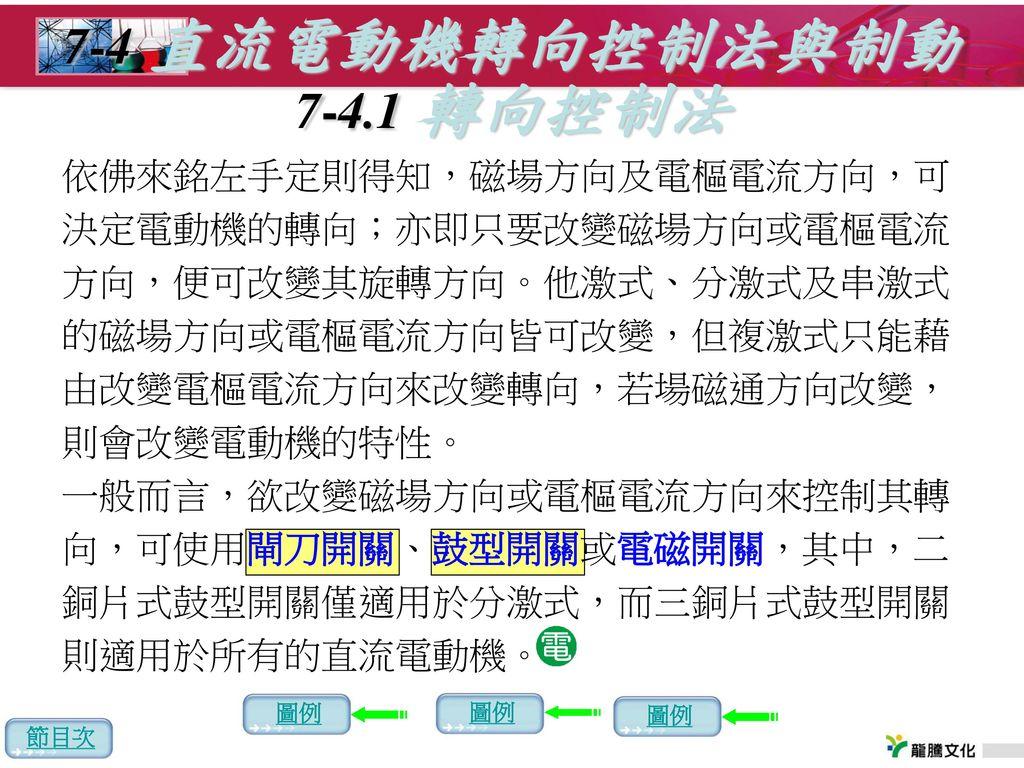 7-4 直流電動機轉向控制法與制動 7-4.1 轉向控制法