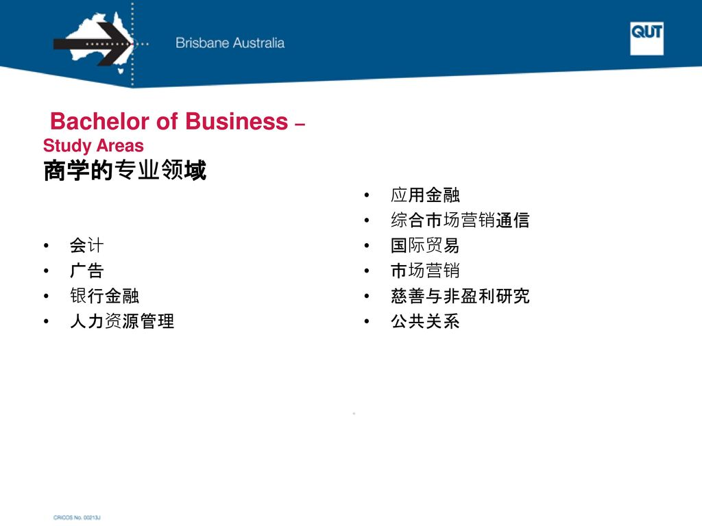 Bachelor of Business – Study Areas 商学的专业领域