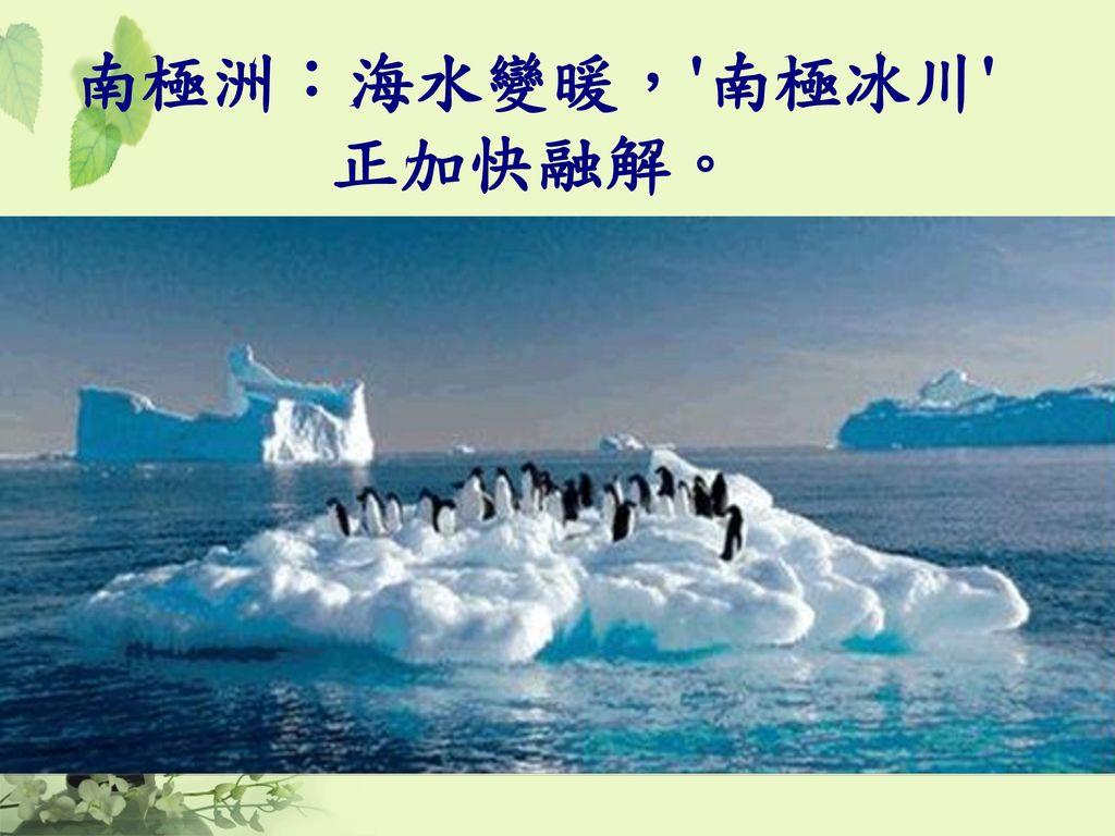 南極洲:海水變暖, 南極冰川 正加快融解。