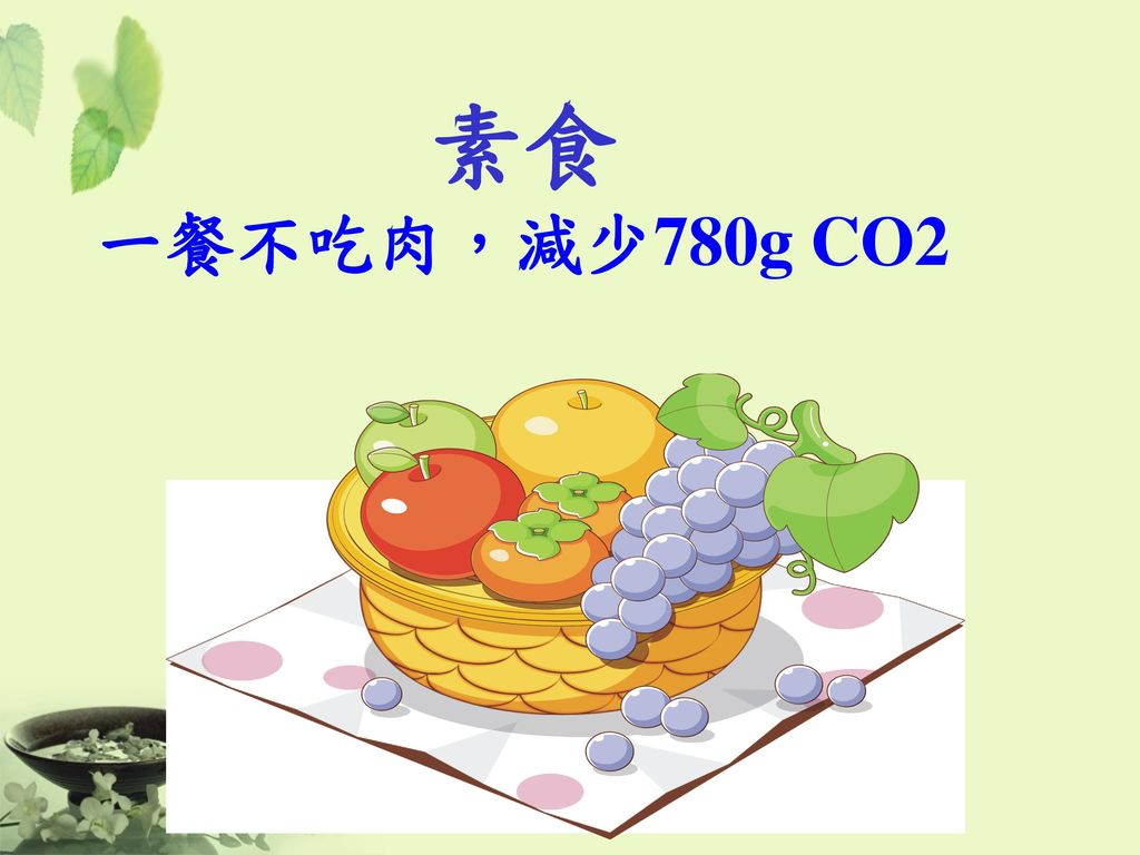 素食 一餐不吃肉,減少780g CO2 53