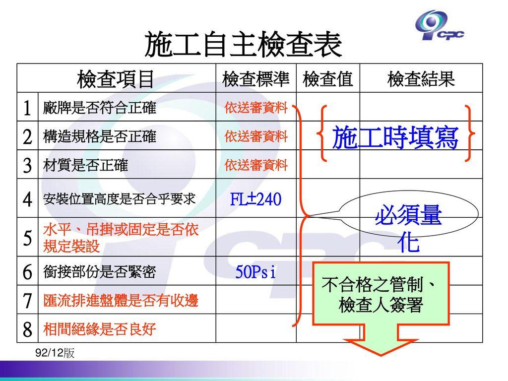 施工自主檢查表 施工時填寫 必須量化 檢查項目 1 2 3 4 5 6 7 8 50Psi FL±240 檢查結果 檢查值 檢查標準