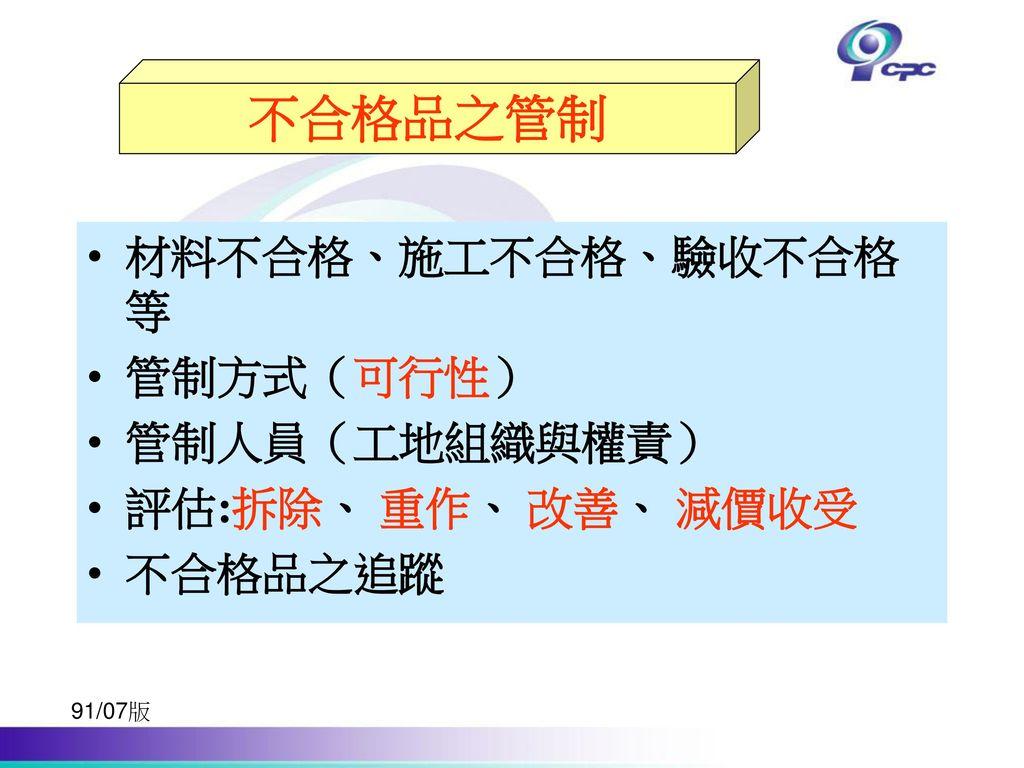 不合格品之管制 不合格品之管制 材料不合格、施工不合格、驗收不合格等 管制方式(可行性) 管制人員(工地組織與權責)