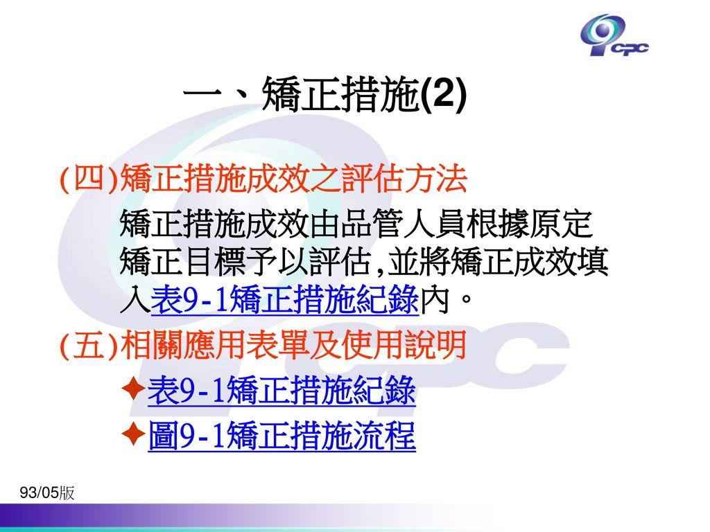 一、矯正措施(2) (四)矯正措施成效之評估方法 矯正措施成效由品管人員根據原定矯正目標予以評估,並將矯正成效填入表9-1矯正措施紀錄內。
