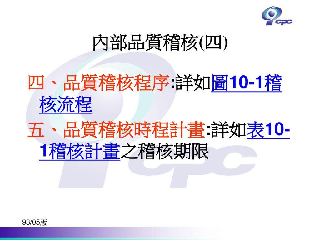 五、品質稽核時程計畫:詳如表10-1稽核計畫之稽核期限
