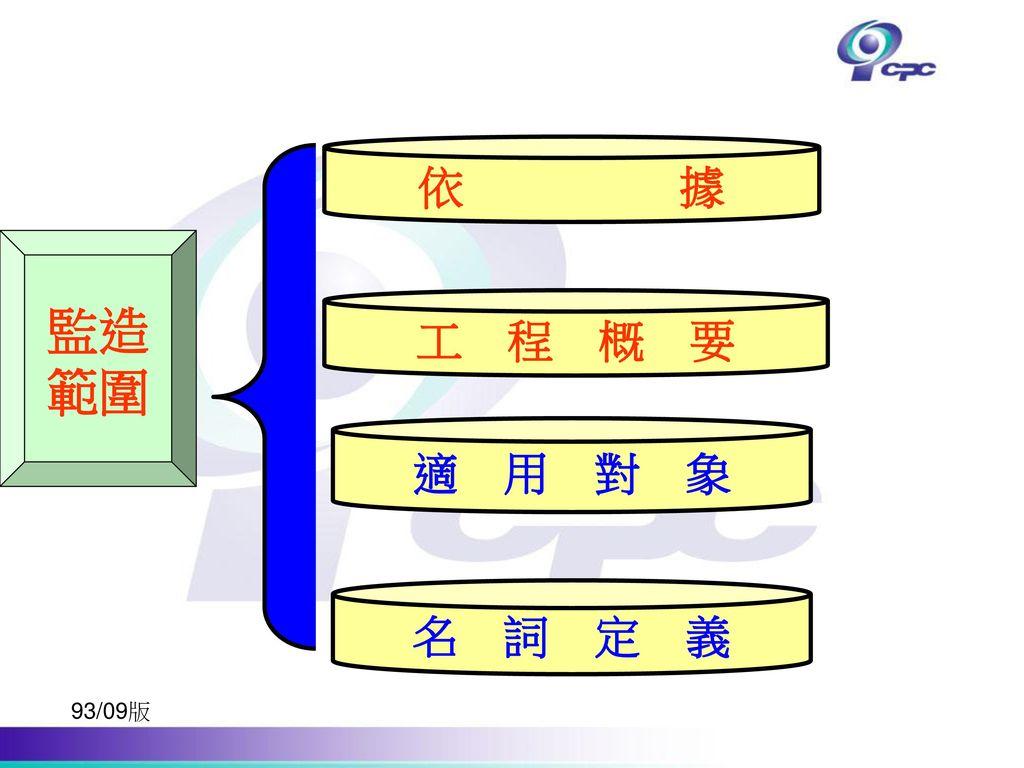 依 據 監造 範圍 工 程 概 要 適 用 對 象 名 詞 定 義 93/09版