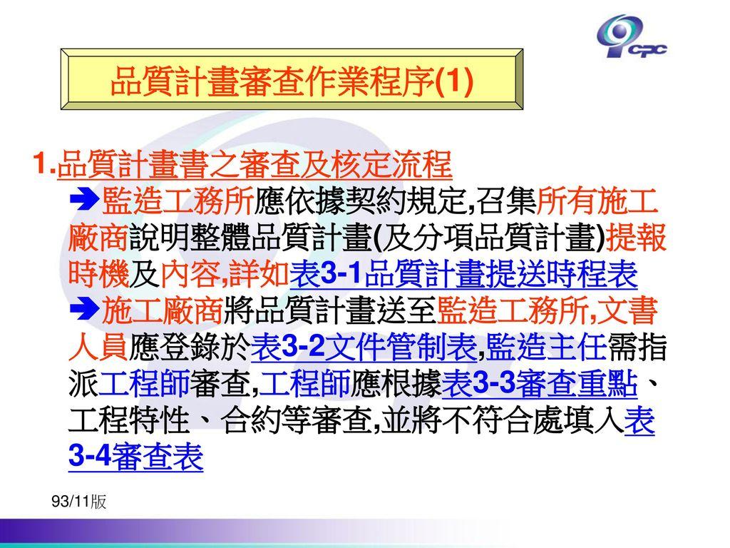 品質計畫審查作業程序(1) 1.品質計畫書之審查及核定流程