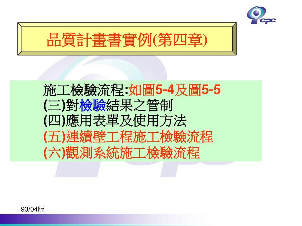 品質計畫書實例(第四章) 施工檢驗流程:如圖5-4及圖5-5 (三)對檢驗結果之管制 (四)應用表單及使用方法 (五)連續壁工程施工檢驗流程
