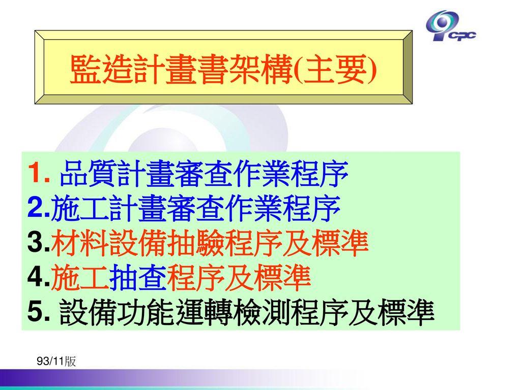 監造計畫書架構(主要) 1. 品質計畫審查作業程序 2.施工計畫審查作業程序 3.材料設備抽驗程序及標準 4.施工抽查程序及標準