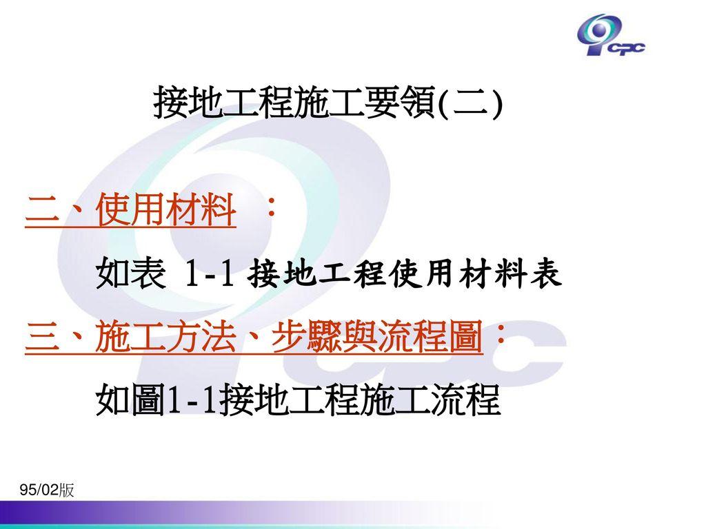 接地工程施工要領(二) 二、使用材料 : 如表 1-1 接地工程使用材料表 三、施工方法、步驟與流程圖: 如圖1-1接地工程施工流程