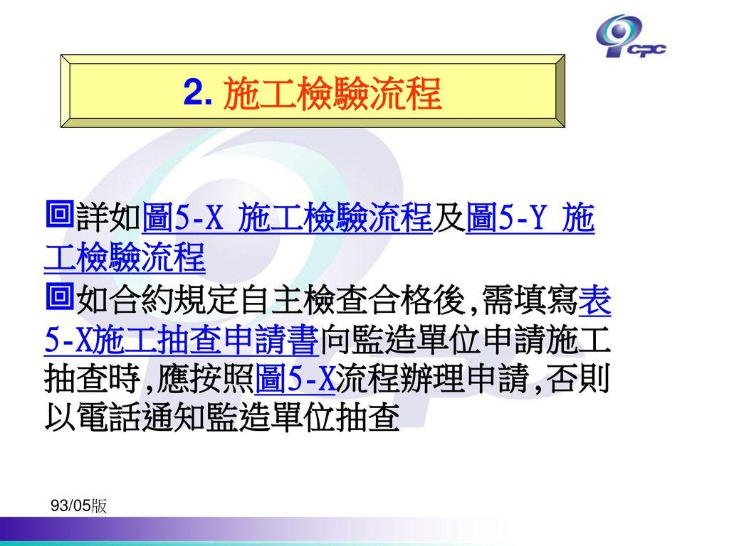 詳如圖5-X 施工檢驗流程及圖5-Y 施工檢驗流程