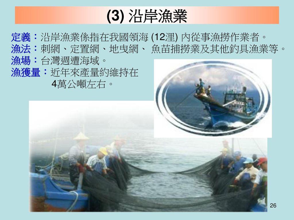 (3) 沿岸漁業 定義:沿岸漁業係指在我國領海 (12浬) 內從事漁撈作業者。 漁法:刺網、定置網、地曳網、 魚苗捕撈業及其他釣具漁業等。