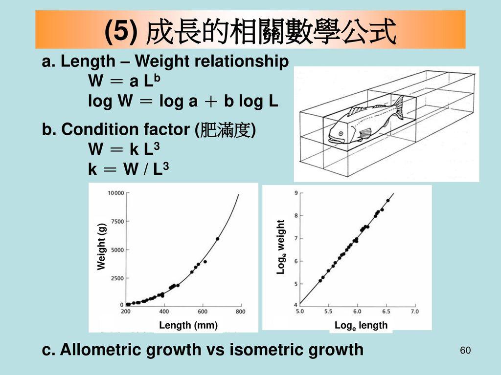 (5) 成長的相關數學公式 a. Length – Weight relationship W = a Lb